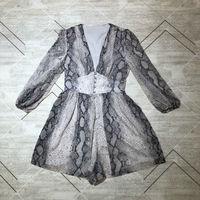 2019 новые платья со змеиным принтом с v образным вырезом и низкой посадкой 1 цвет 3 размера Женская одежда