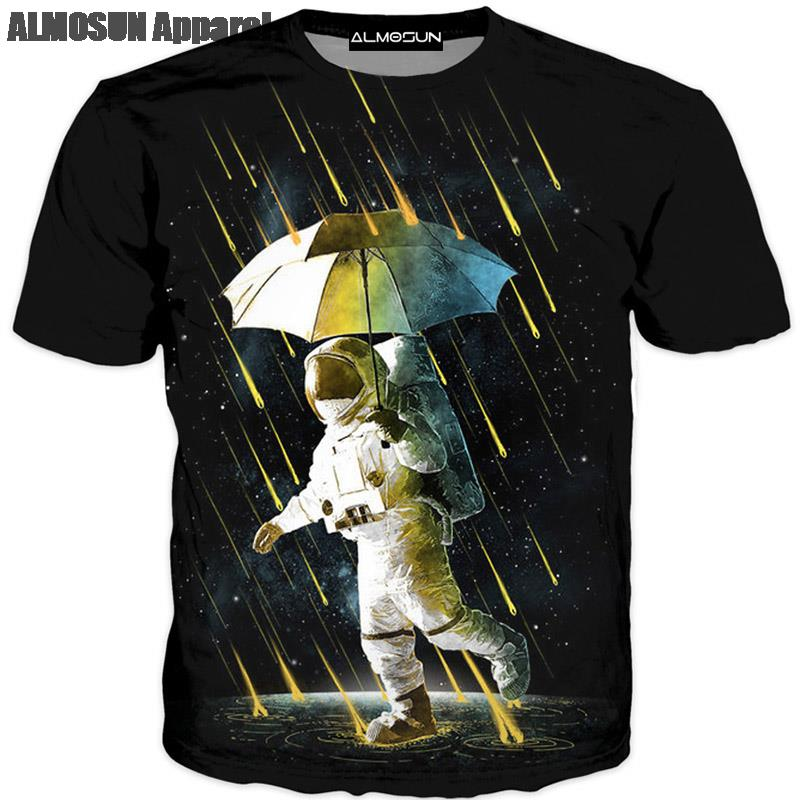 Men's Clothing Almosun Astronaut Spacewalk In Meteor Shower 3d All Over Printed T Shirts Short Sleeve Summer Street Wear Top Tee Men Women