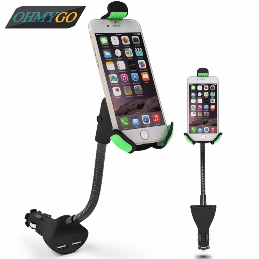 imágenes para Sostenedor del teléfono del coche con cargador Dual USB soporte para Apple Iphone 6 6 + Samsung Galaxy S6 S5 HC84K