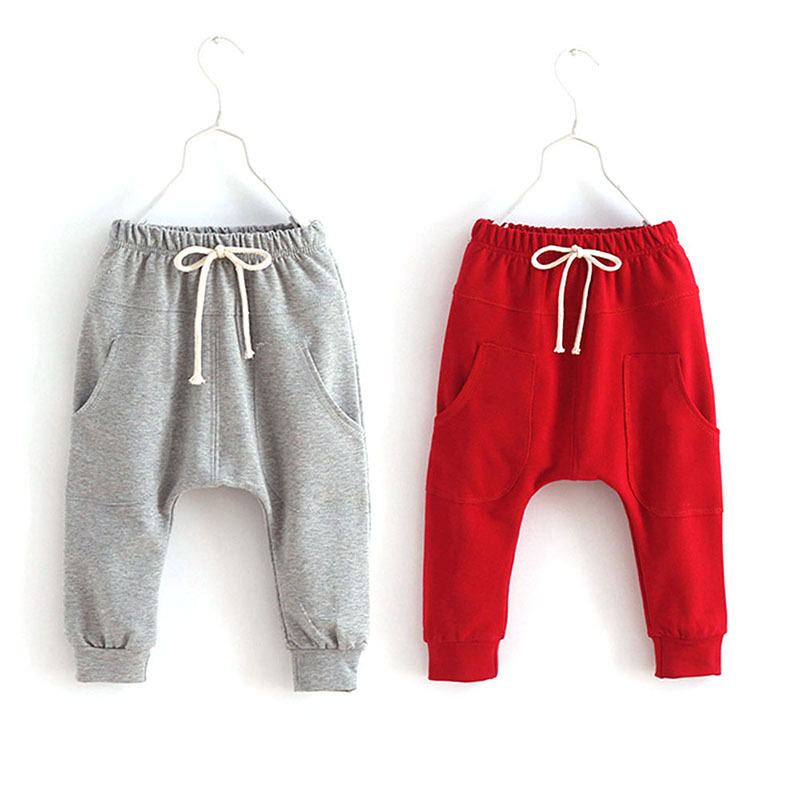 Kids Baby Boy Girl Sports Trousers Toddler Children Jersey Harem Pants Jersey Bottoms Candy Color color splicing inclined zipper beam feet harem pants
