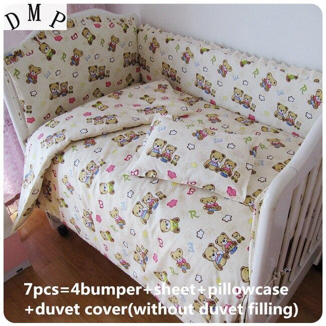 Promotion! 6/7PCS Baby Crib Bedding Sets Bed Linen Toddler Bed Baby Cot Bedclothes ,duvet Cover,120*60/120*70cm