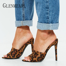 Women Slippers Summer Shoes High Heels Sexy Leopard Mules Shoes Peep Toes Woman Slides Outdoor Female Sandals Party Plus Size DE rhinestone high heel sandals plus size 40 41 summer blue flower sexy leather diamond slippers female rome slides shoes women