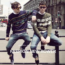 Men Sweater Long Sleeve Pullovers Outwear O-Neck Sweaters Tops Knitted Clothing Casual Printing Cotton Male Pullover