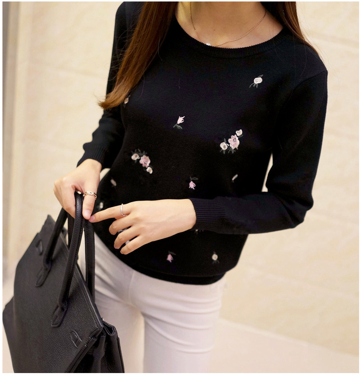 bd878b9fa0 18 Autumn Sweater Women Embroidery Knitted Winter Women Sweater
