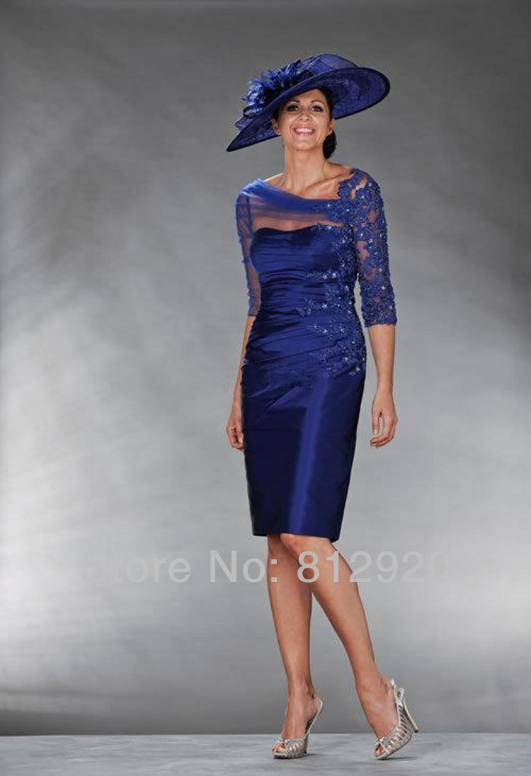 Made Navy Blue  Lace Appliqued Knee Length Mother Of Bride Dress With Sleeves