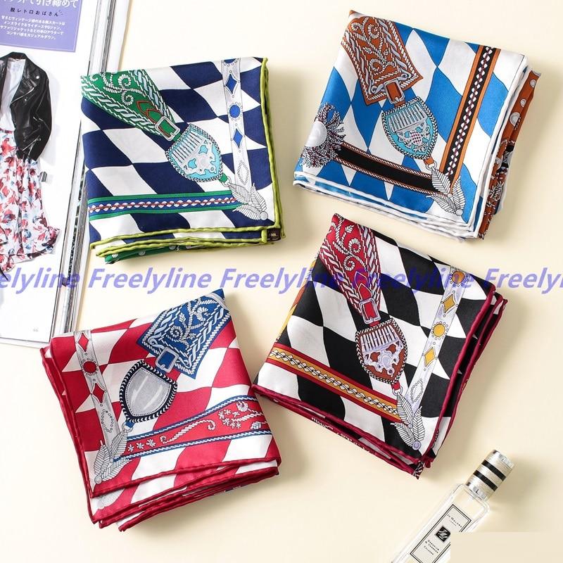 Hand Rolled Print 100% Silk Scarf Neckerchief Bandana Women Small Square Silk Scarf Wraps Foulard 53x53cm