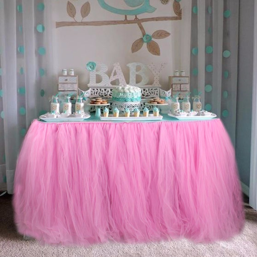 Baby Shower Table Decorations 100*80CM Tulle Table Skirt