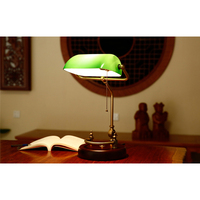 American Retro Solid Wood Lamp Study Table Work Read Bedroom Bedside Table Lamp with Light Source US Plug Green