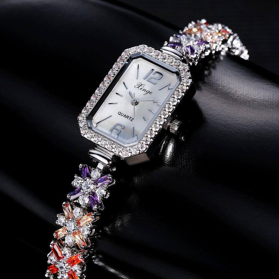 Luxury Watches Women Fashion Gemstone Crystal Women Dress Wristwatch Ladies Business Quartz Watch S0373 fashion 2018 watch women watches luxury crystal watches women quartz wristwatch clock ladies dress gift watches