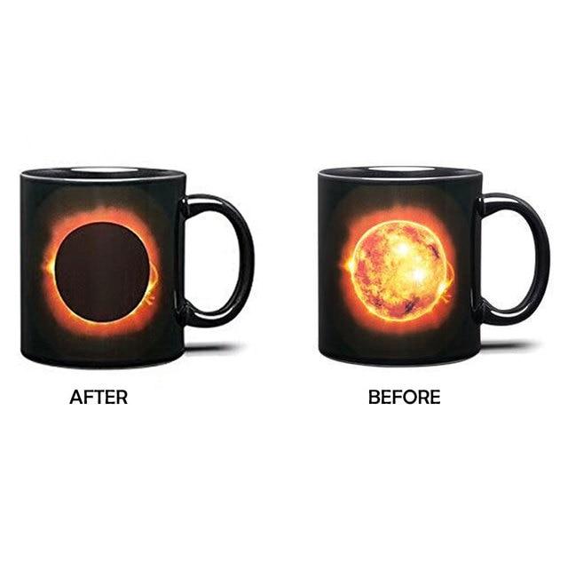 Creative Sun & Moon Magic Mug Positive Energy Color Changing Milk Cup Ceramic Discoloration Coffee Tea Milk Mugs Novelty Gifts 1