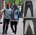 2017 El Más Nuevo Justin Bieber Temor De Dios Tobillo Cremallera Joggers Mens Hip Hop de Moda Largo Gris de La Raya/Negro Flacos ajustado de Los Pantalones