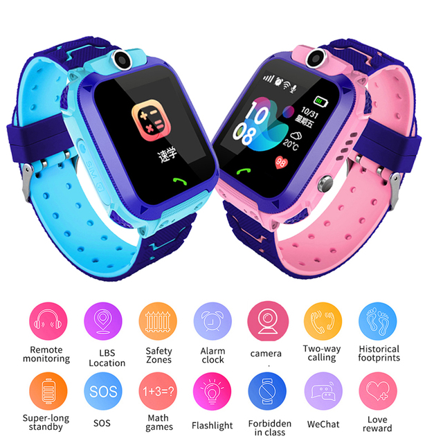 2019 New Smart watch for Children SOS Call Location Finder Locator Tracker Anti Lost Monitor LBS Kid SmartWatches Baby Watch Box