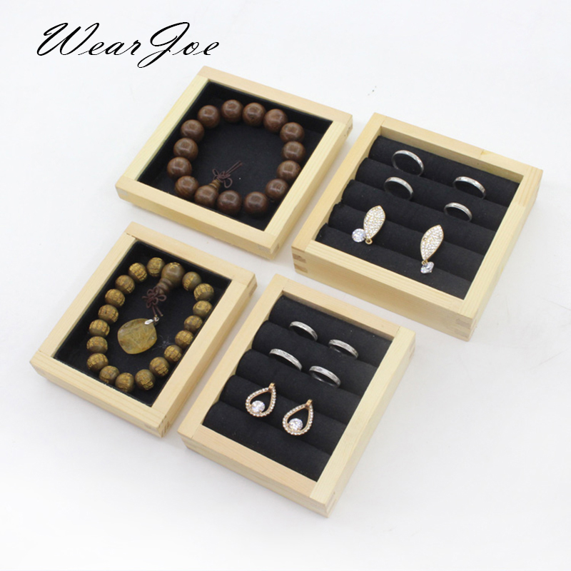 Wholesale Wooden Mini Charm Beads Jewelry Display Storage Tray Box Ear Ring Earring Bracelet Chain Pearl Jewellery Organizer Box