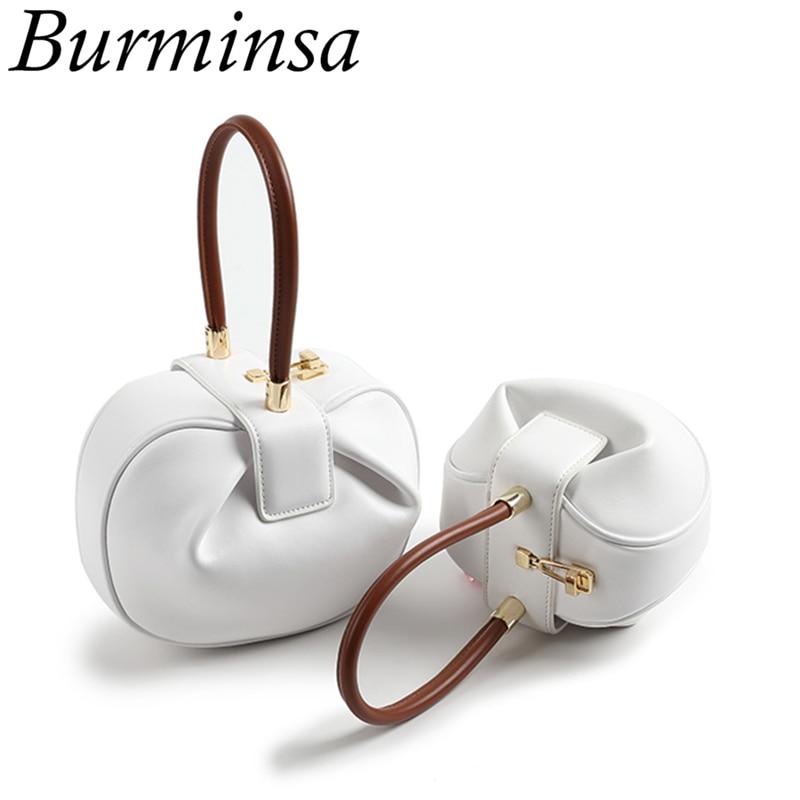Burminsa Chic Spherical Women Genuine Leather Handbags Small Female Designer Handbags High Quality Ladies Evening Tote