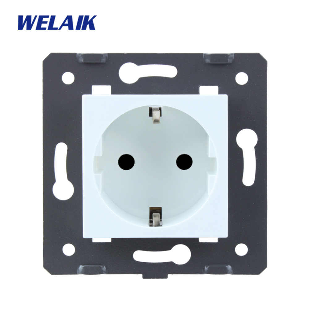 WELAIK EU-Standard Power-Socket DIY-Parts-Wall Socket-parts Without-Glass-Panel A8EW/B