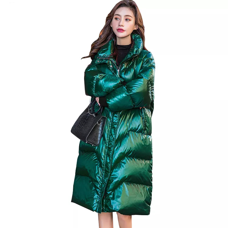 Winter Long   Down   Jacket Female 2019 Fashion Bright Thick White Duck   Down     Coat   High neck Jackets Women Winter Outerwear Warm