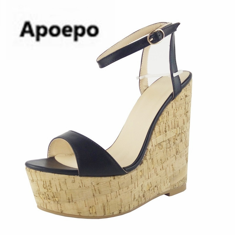 Woman Platform Wedge Sandal Sexy Open Toe Ankle Strap Gladiator Sandal Brown Leather Super High Summer Dress Shoes Free Ship 2017 newest summer black brown leather sandal for woman sexy open toe flat crystal sandal sequins bead t strap buckle shoes