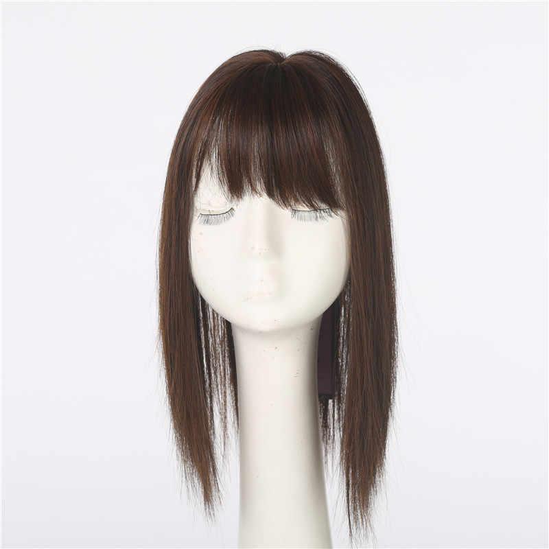 Topper de pelo pieza de pelo para mujer Clip en flequillo extensión Peluca de fibra sintética señora falso Natural invisible negro marrón C8