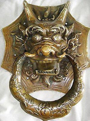 2pcs Fine AMAZING BIG Chinese brass door knocker with dragon carved Garden Decoration 100% Tibetan silver BRASS