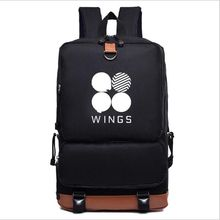 free shipping  2017 New Bts Bangtan boys wings style canvas Fashion Schoolbag Backpack  leisure bag mochila bts