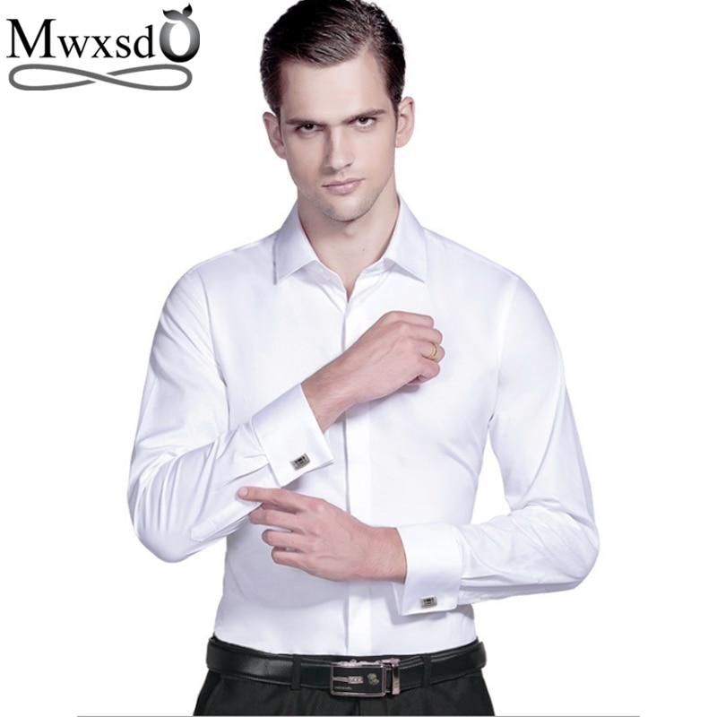 Mwxsd high quality French Men Tuxedo Dress Shirt Mens silk cotton  formal wedding Shirt long sleeve solid male slim Fit shirtTuxedo  Shirts