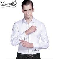 Mwxsd High Quality French Men Tuxedo Dress Shirt Mens Silk Cotton Formal Wedding Shirt Long Sleeve