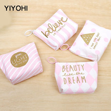 YIYOHI High Quality Beautiful Pink Canvas Grils Lovely Zipper Plush Square Coin font b Purse b