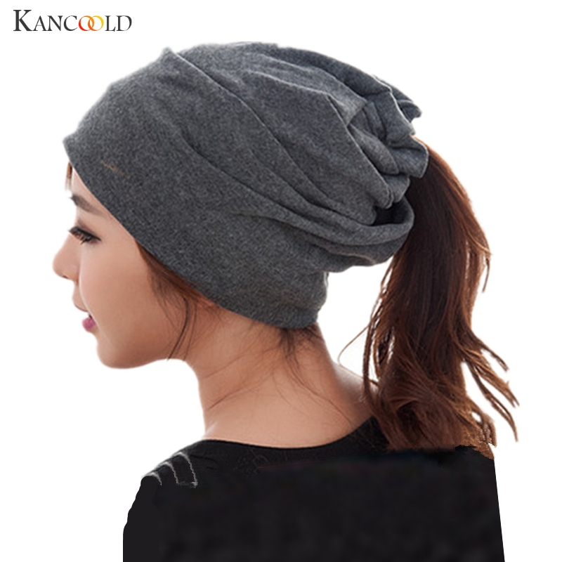 Multi-use Women Solid Elastic Beanies Gravida Slouchy Baggy Neckerchief Hat Hip Hop Skullies Female Casual All-Match Cap Nov2 the explosion of the classic all match solid colored body hip high elastic denim pants feet female winter bag mail