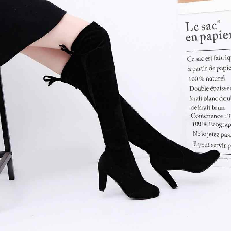 Femmes bottes hautes sur le genou bottes femmes chaussures à lacets dames chaussures grande taille 43 genou bottes Sexy talons hauts bottes femme