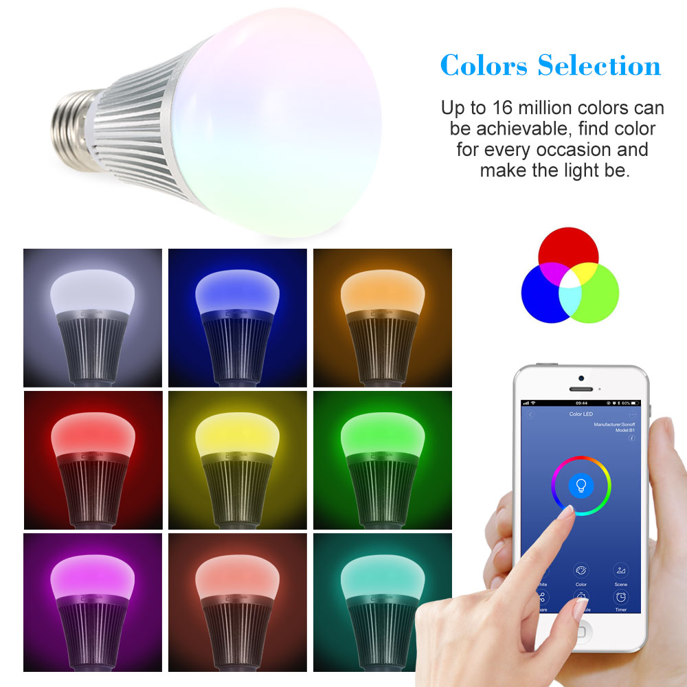Video Surveillance Industrious Sonoff B1 Itead Ambiance Dimmable E27 Led Lamp Rgb Smart Bulb Light Color Changeable For Android/ios Phone App Remote Control