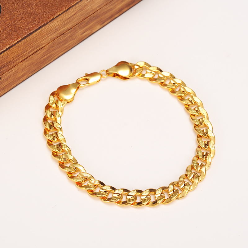 Aliexpress Clics Fashionable Real 24k Yellow Gold Gf Mens Woman Necklace Bracelet Jewelry Sets Solid Curb Chain Abrasion Resistant From