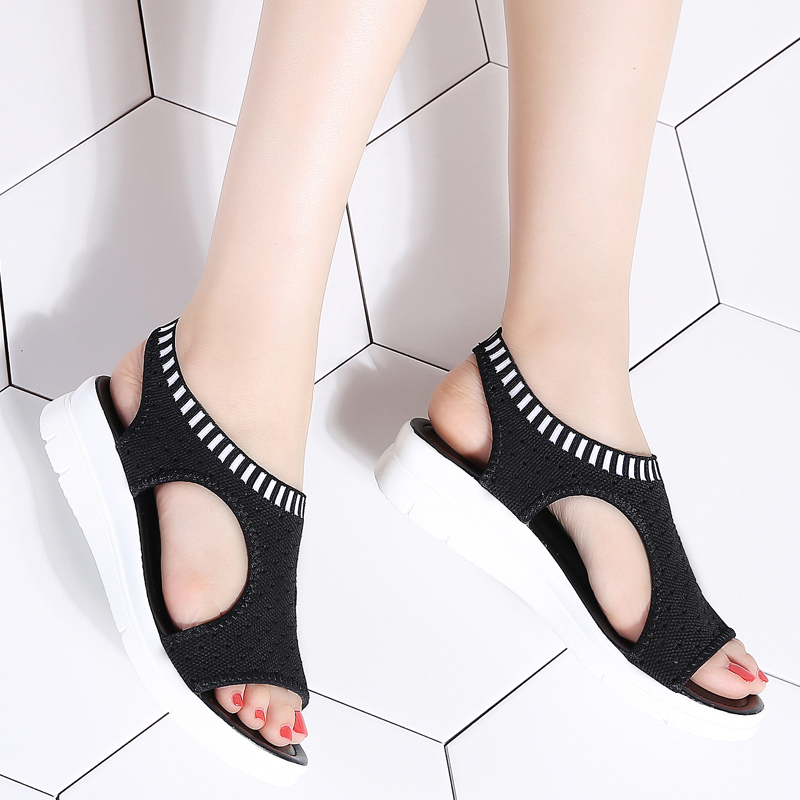 10f6d8ec571e34 TKN Women Sandals 2019 New Female Shoes Woman Summer Wedge Comfortable  Sandals Ladies Slip-on Flat Sandals Women Sandalias QS808