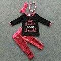Осень/зима девушки одежды девушки черный топ с ярко-розовый блестки брюки наборы бабушка набор корона устанавливает с аксессуарами