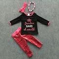 Outono/inverno meninas conjuntos de roupas meninas top preto com rosa quente lantejoulas pant conjunto avó coroa define com acessórios