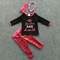 fall/winter girls clothes girls black top with hot pink sequins pant sets grandma set crown sets with accessories