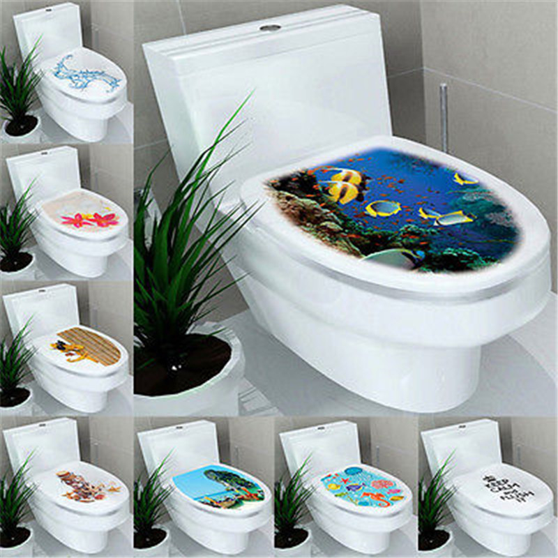 3d diy toilet seats wall stickers bathroom decoration decal vinyl mural home decor us56 - Decoration toilette ...