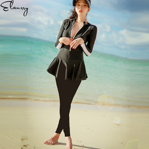 2019 Newest Swimsuit Long Sleeves Bodysuit Professional Full Cover Swimming Suit Women Training Swimwear Swim Jumpsuit 3 Pieces(China)