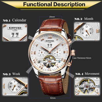 KINYUED Mechanical Tourbillon Men\'s Wristwatch Leather Casual Business Men Skeleton Watch Automatic erkek kol saat montre homme