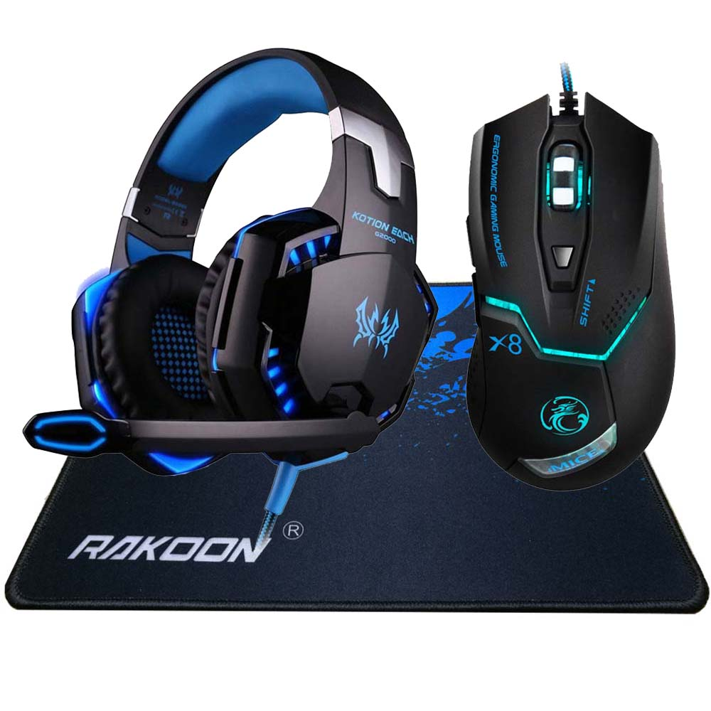 3200DPI 6 Button Wired Pro Gaming Mouse Optical Gamer Mouse+EACH G2000 Hifi Pro Gaming Headphone Headset+Gaming Mouse Pad Gift