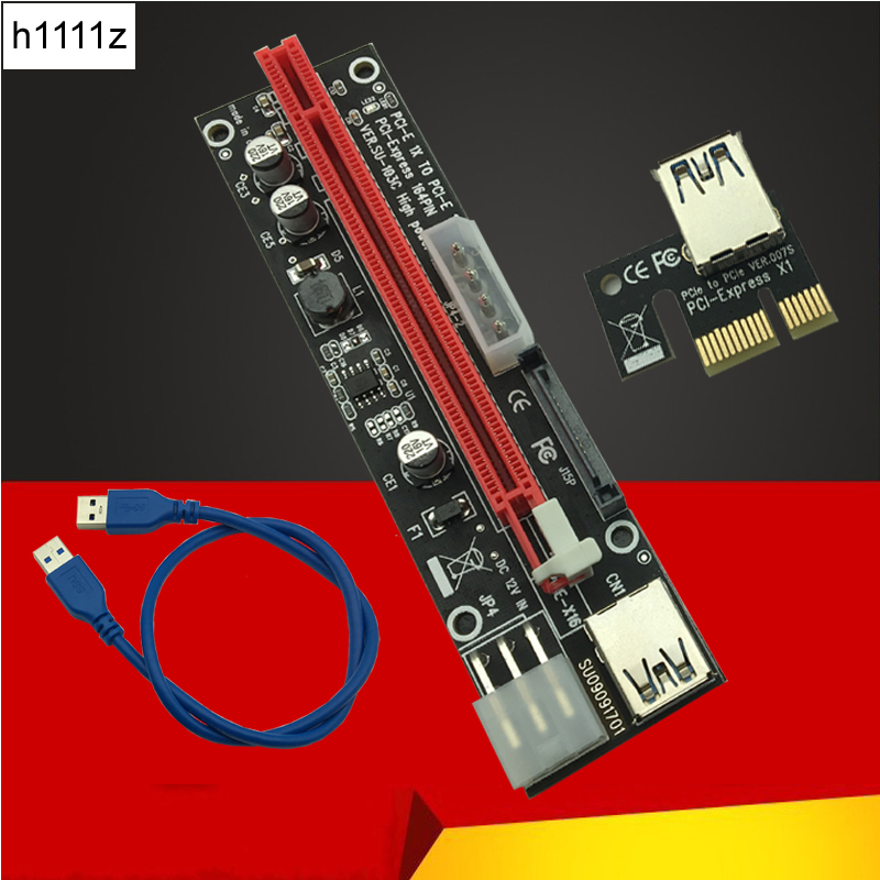60CM PCI Express 1X To 16X PCIE Riser Card For BTC Miner Machine Overcurrent Protection USB Cable SATA To 6Pin Power Cord Mining 15pin sata pci e riser pcie express 1x to16x extender riser adapter mining card with 60cm usb 3 0 cable for btc ltc eth miner