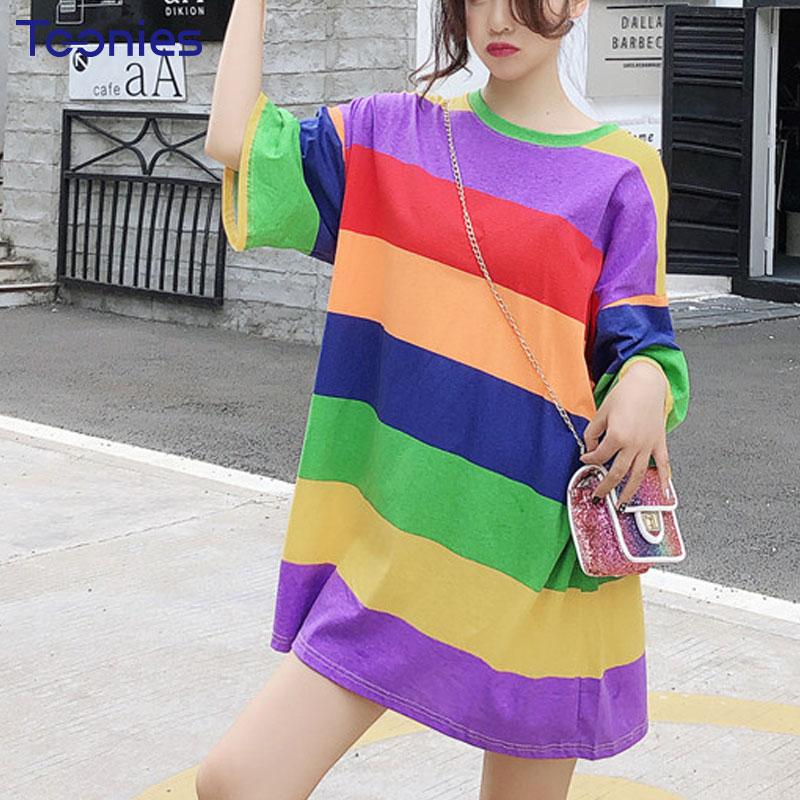 New Summer Chic Straight Dresses Women Fashion Striped Spliced Rainbow Loose Short Sleeved All-match Harajuku Oversized Dress