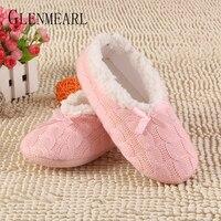 2015 New Warm Soft Sole Women Indoor Floor Slippers Shoes White BlackWoolen Yarn Slippers Flannel Flat