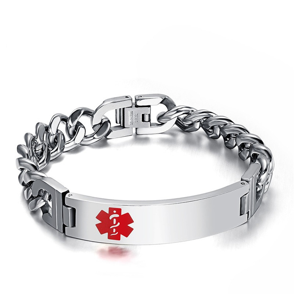 Stainless Steel Medical Alert Id Mens Bracelet