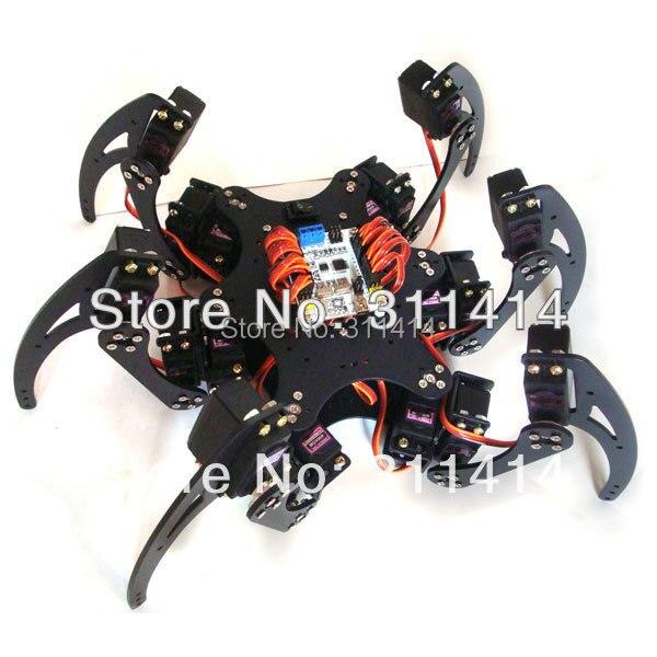 18dof Aluminium Hexapod Spider Six Legs Robot Kit W/ 18pcs Mg996r Servo& Ball Bearing Consumer Electronics