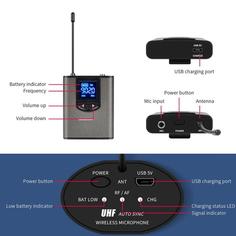 UHF Wireless Microphone System Mini Lapel or Headset Mic with Bodypack Portable Receiver Transmitter For Teach Lecture Speech in Microphones from Consumer Electronics