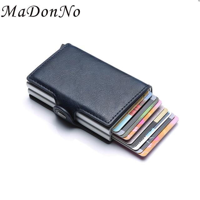 אנטי Rfid ארנק בנק מזהה אשראי כרטיס בעל ארנק עור עובר אלומיניום כרטיס ביקור מקרה מגן כרטיס כיס ישראל