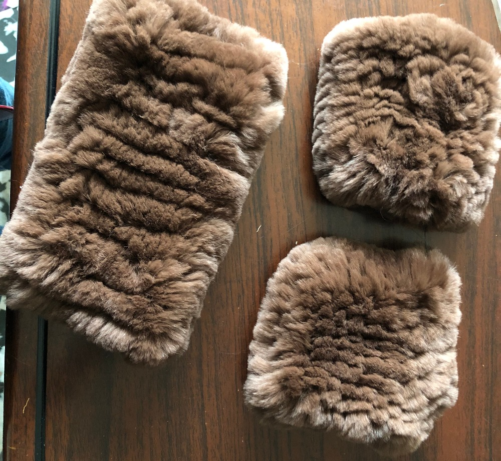 Real Rex Rabbit Fur Hand Knitting Set Of Mittens & Headbands This Listing Only For Wholesale  Please Donot Buy One Set