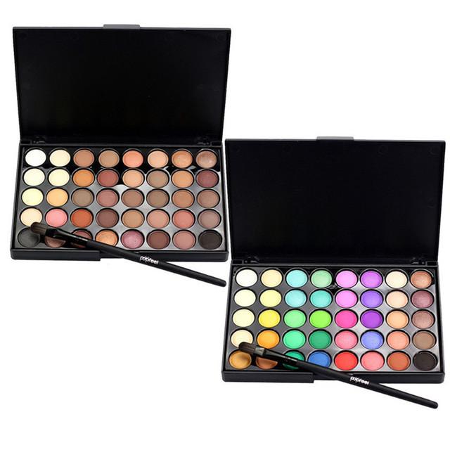 40 Color Eyeshadow Palette Matte Glitter EyeShadow Diamond Shimmer Eye Primer Luminous Eye Shadow Women Gift Smoky/Warm Color