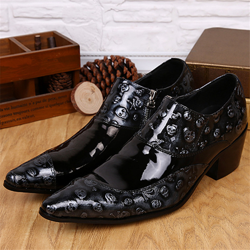 Fashion Luxury Casual Shoes Pointed Toe Leather Men Shoes Oxfords Wedding Dress Party Slip On Shoes Chaussures Mariage Boot men fashion oxfords pointed toe retro