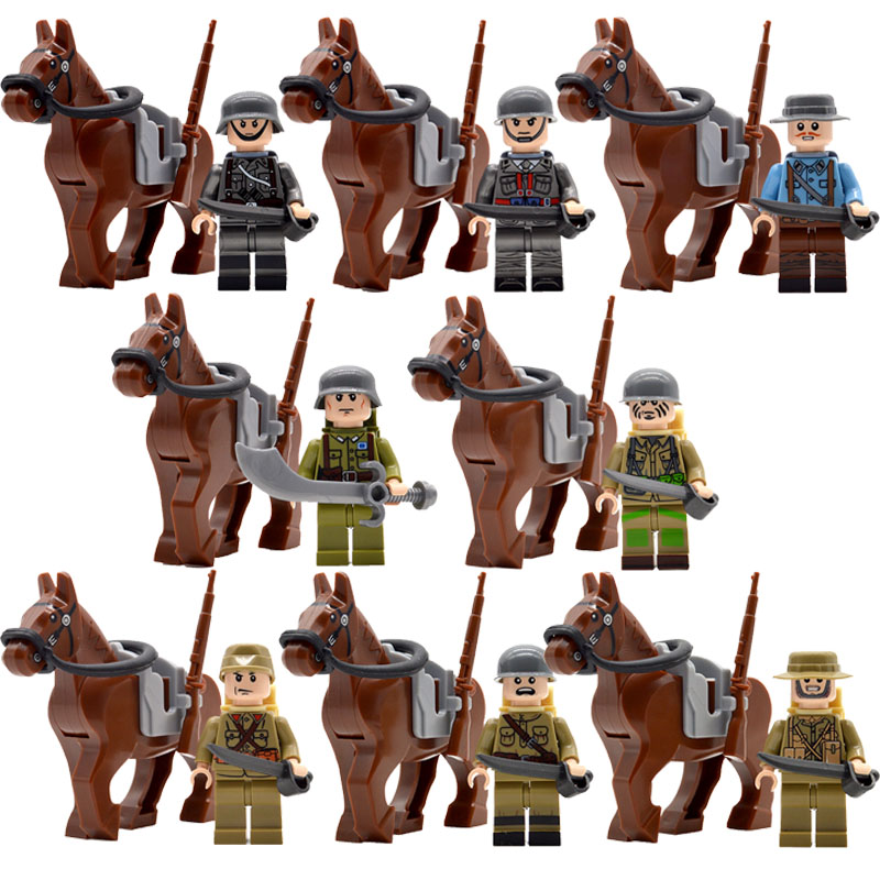 Military WW2 Allied Forces Soldiers with War Horse Sword Guns Explosive Packs Building Bricks Blocks Toys for Children should child soldiers be punished for war crimes